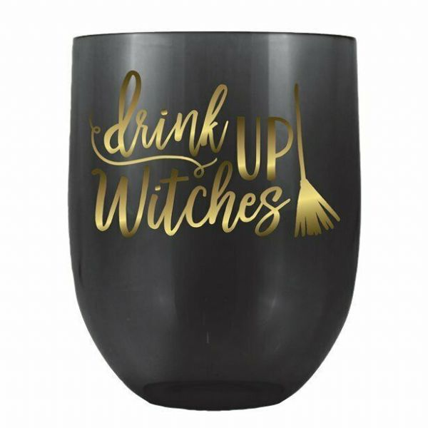 Halloween 'Drink Up Witches' Stemless Wine Glasses x 4  (487ml)